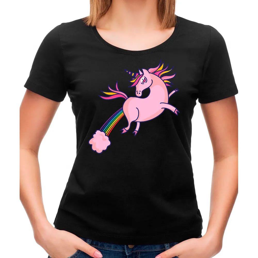 Camiseta Feminina Unicórnio Preta