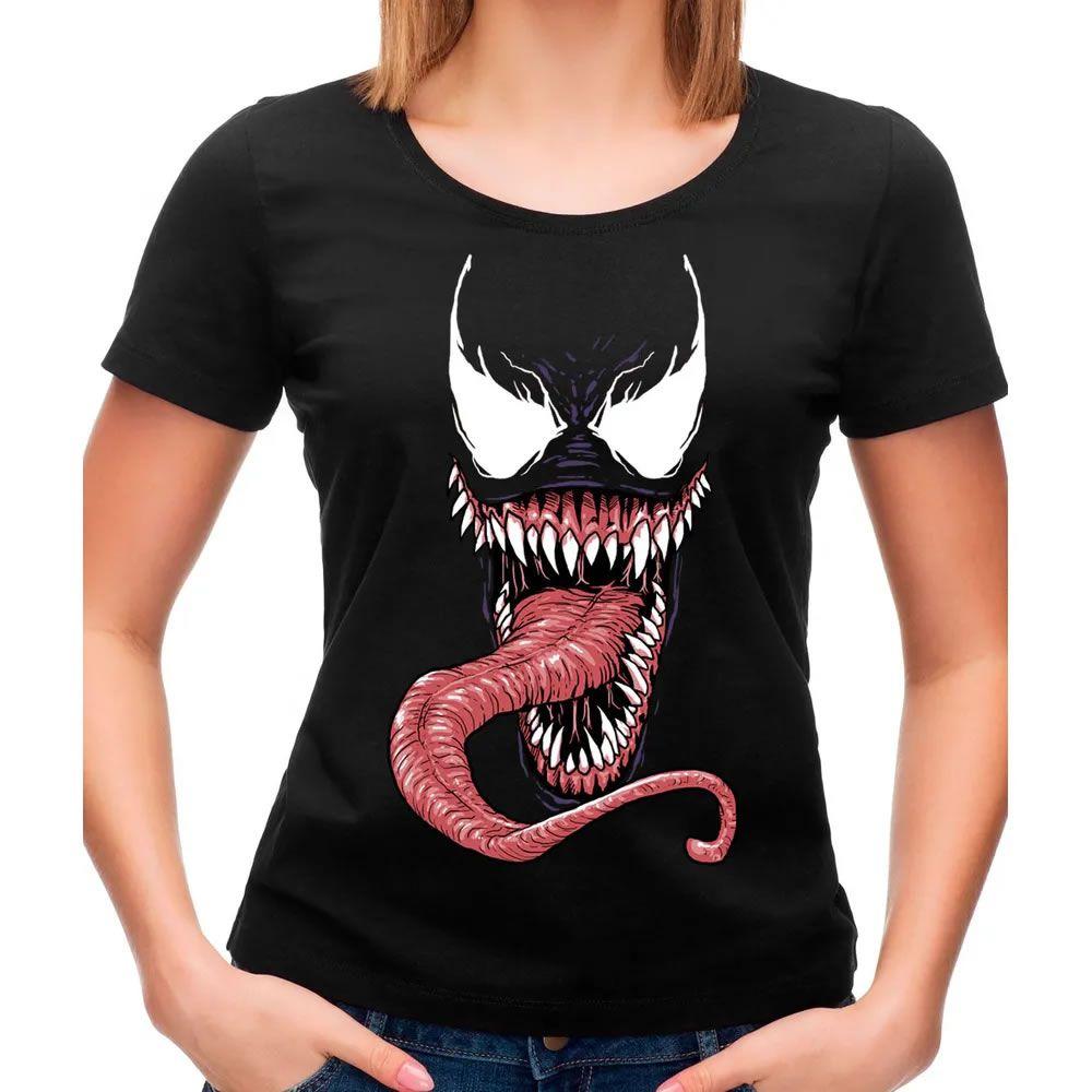 Camiseta Feminina Venom Mask Preta