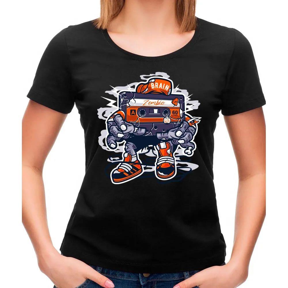 Camiseta Feminina Zombie Cassette Preta