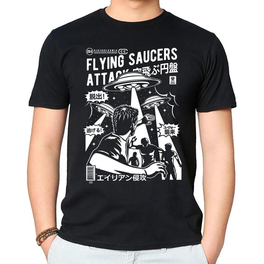 Camiseta Flying Saucers Attack Preta