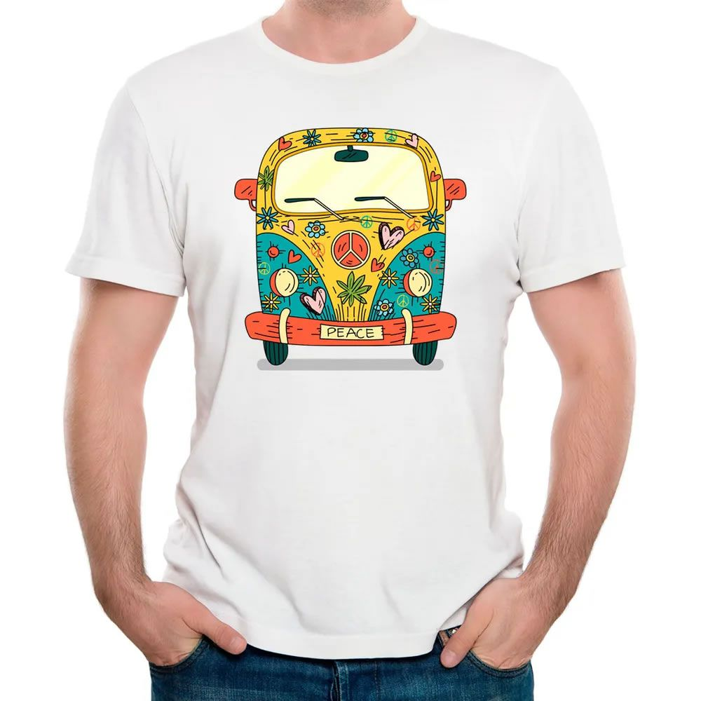Camiseta Hippie Kombi Branca