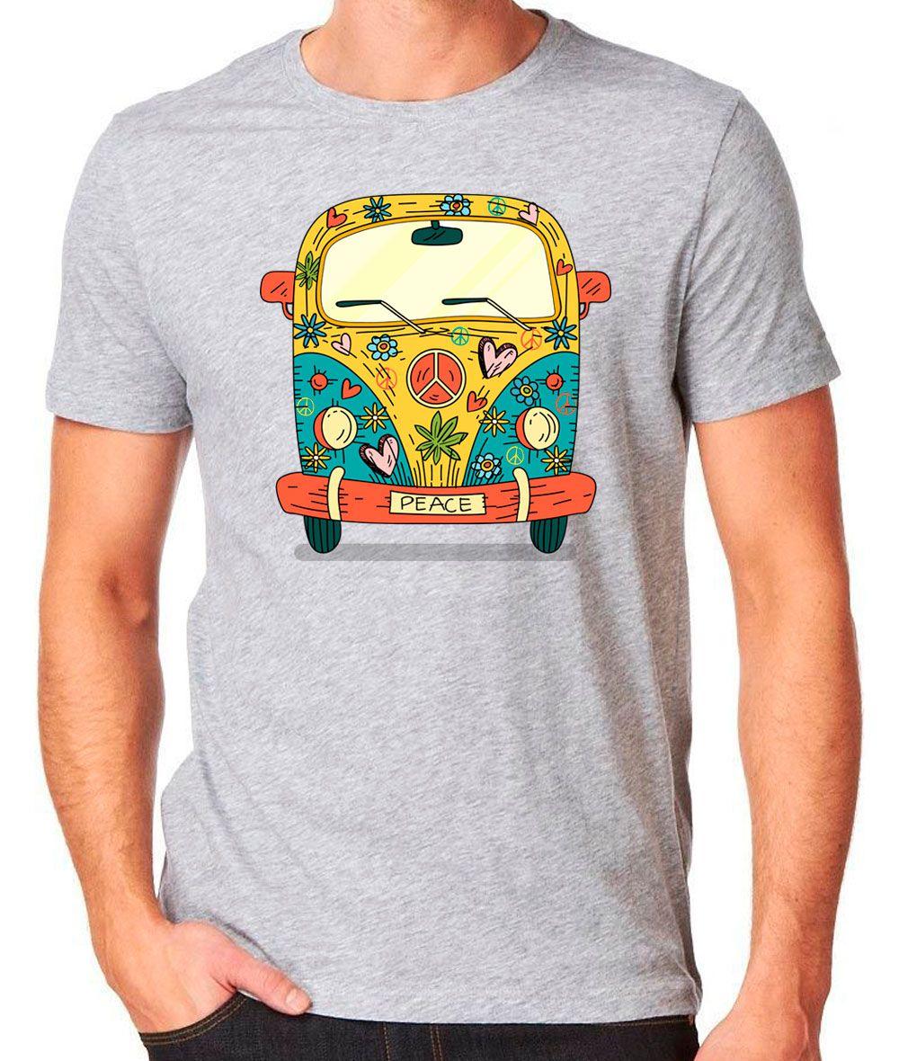 Camiseta Hippie Kombi Cinza