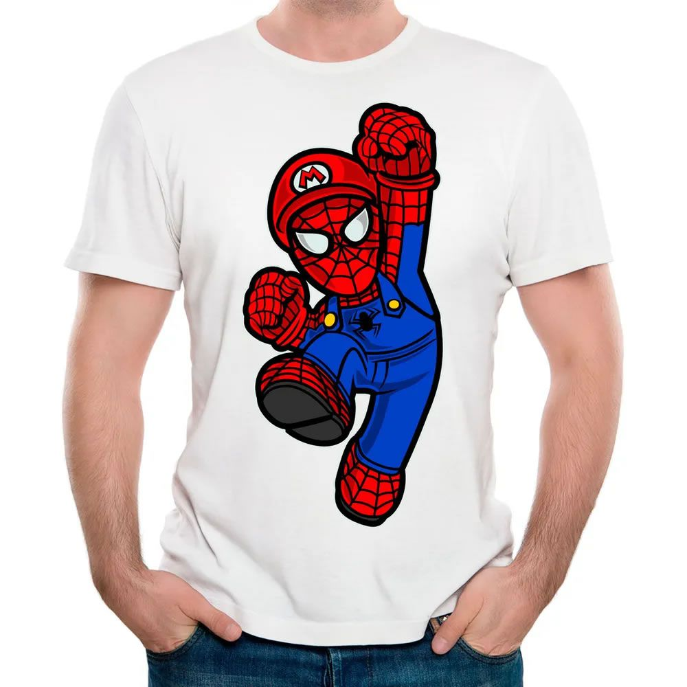 Camiseta Mario Spider Branca