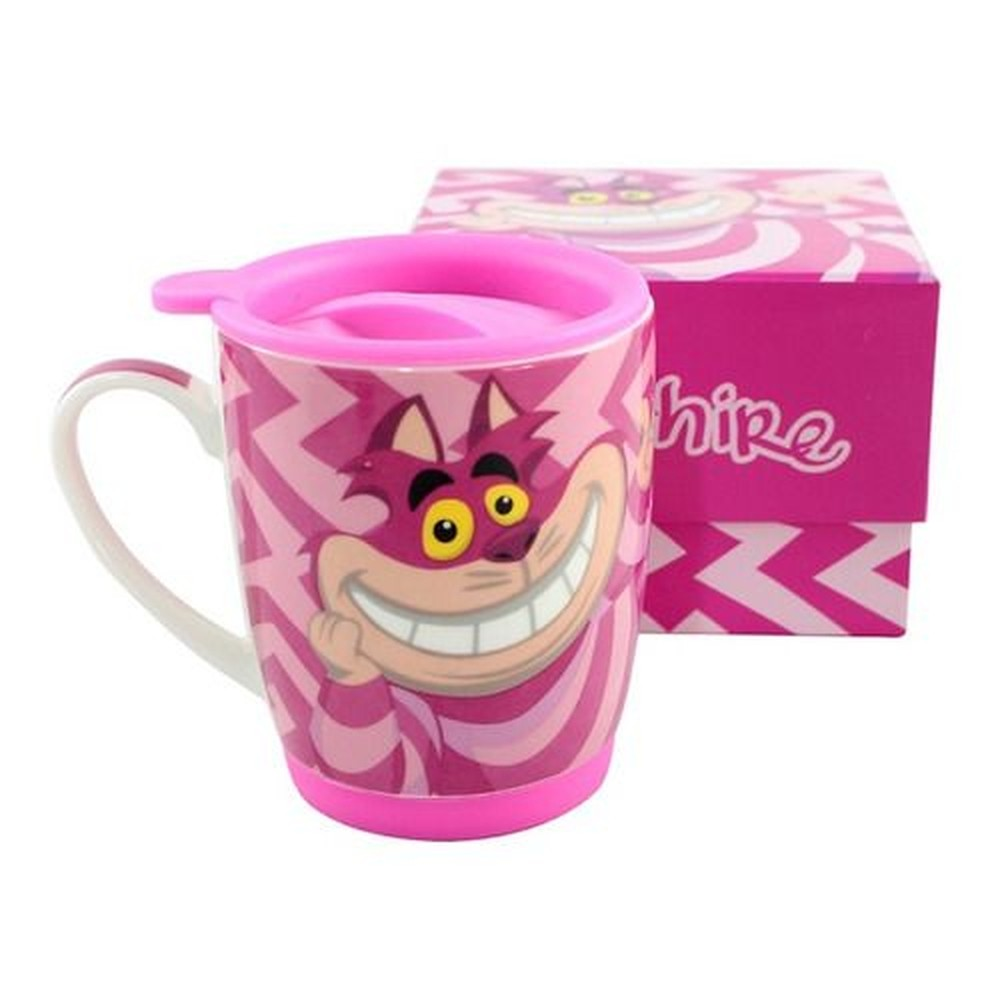 CANECA C/TAMPA 350ML E BASE DE SILICONE CHESHIRE CAT