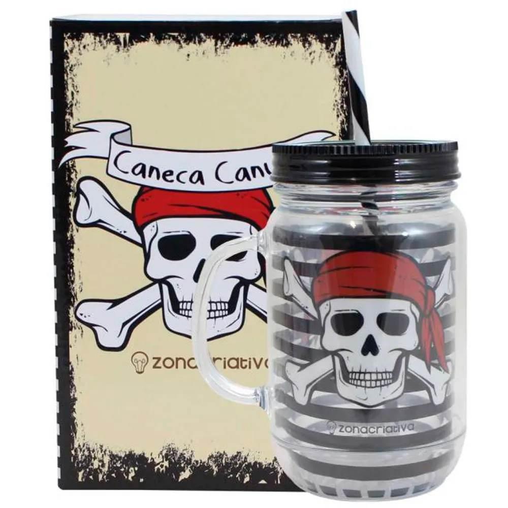 Caneca Pote canudo Caveira Pirata