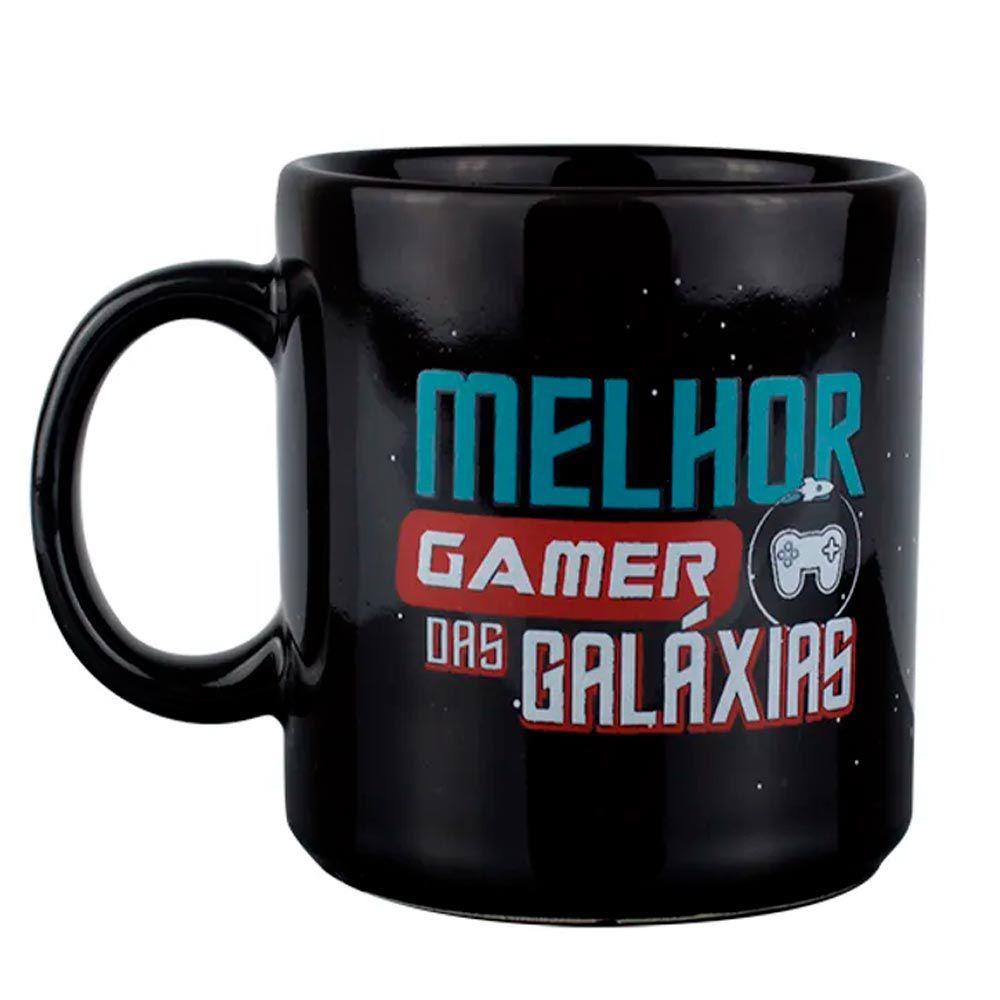 Caneca Preta Melhor Gamer das Galáxias