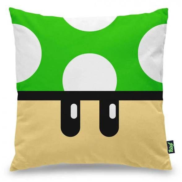 Capa de Almofada Gamer Cogumelo Verde 1 Up