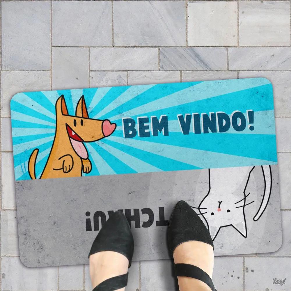 Capacho Eco Slim 3mm Cão e Gato Bem Vindo Tchau