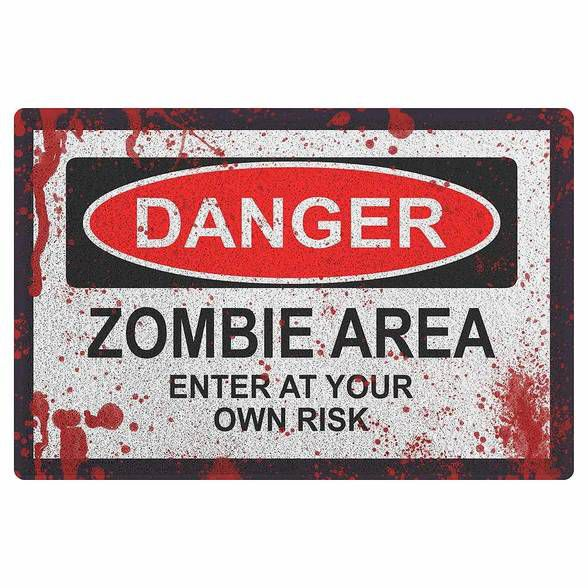 Capacho em Vinil Danger Zombie Area