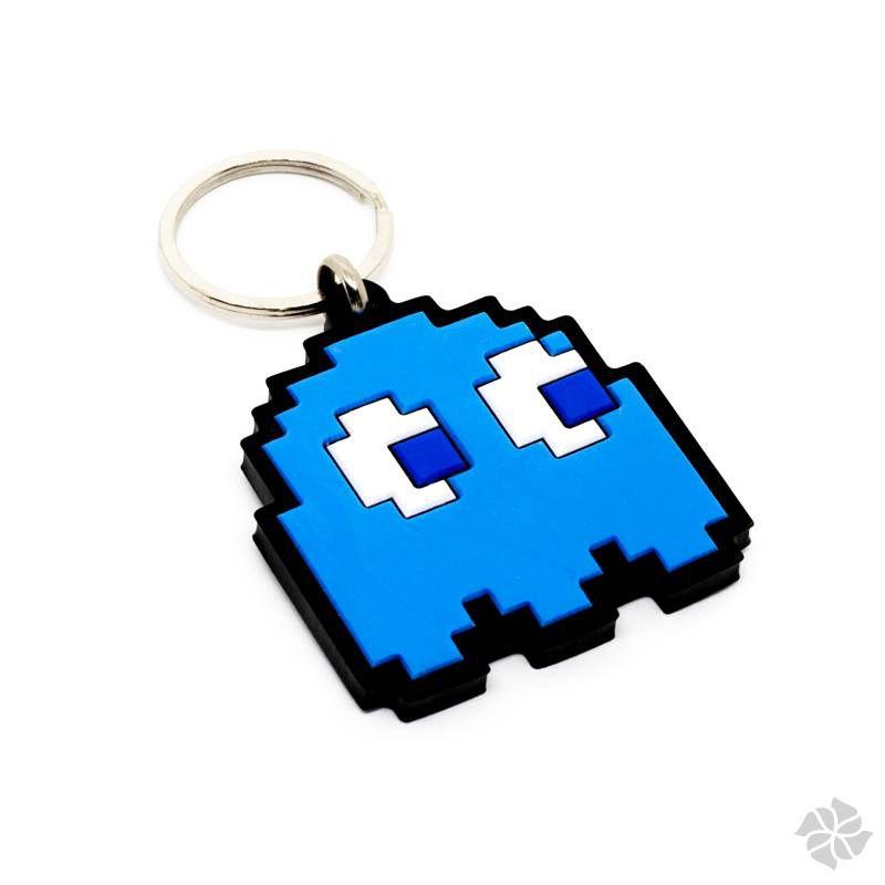 Chaveiro emborrachado fantasma Azul Pac Man