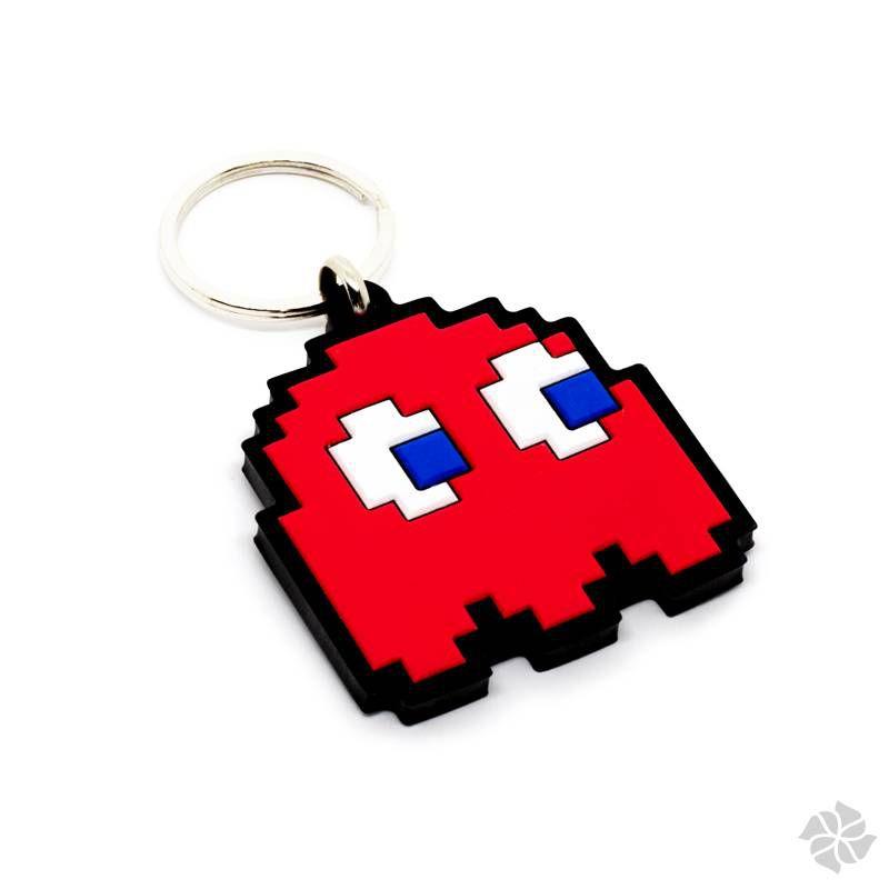 Chaveiro Emborrachado Fantasma Vermelho Pac Man