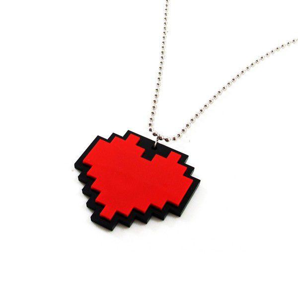 Colar Coração Pixel