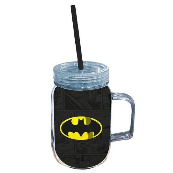 Copo Jarra Acrílico Batman Logo Preto e Amarelo