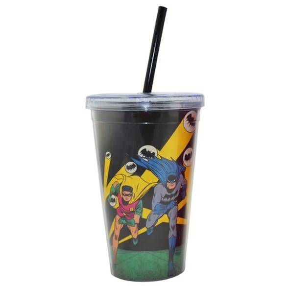 Copo Plástico DC com Tampa e Canudo Batman e Robin Running