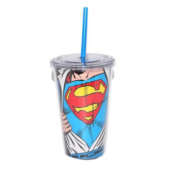 Copo Plástico DC com Tampa e Canudo Superman Opening