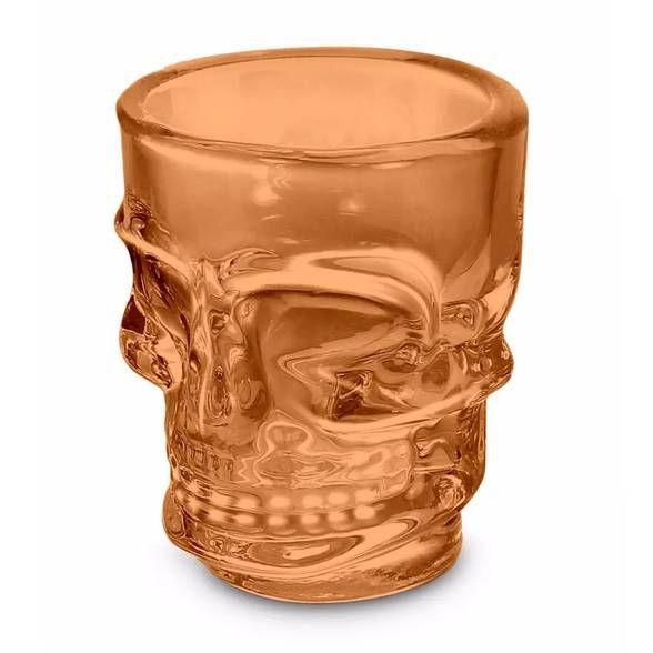 Copo Shot Caveira Skull Dose 50ml - laranja