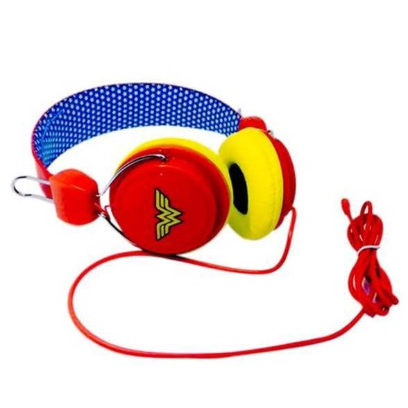 Fone de ouvido Mulher Maravilha vermelho e azul