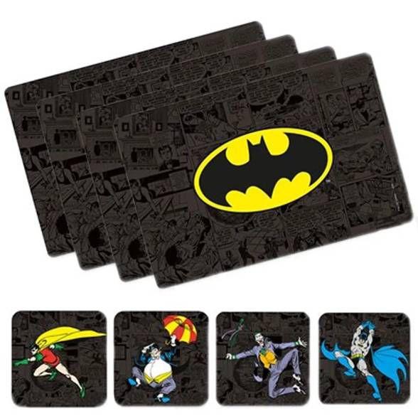 Jogo Americano Batman com porta copos (8 Peças)