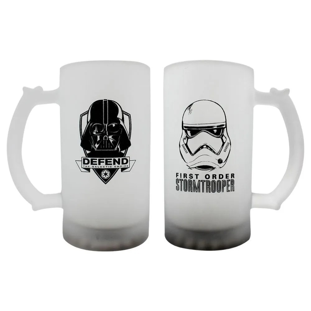 KIT C/2 CANECA DE CHOP 450ML FOSCO DARTH TROPPER