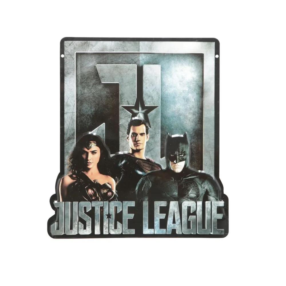 PLACA ALUMINIO RECORTE WB JL MOVIE WW. SUPERMAN. BATMAN PRETO