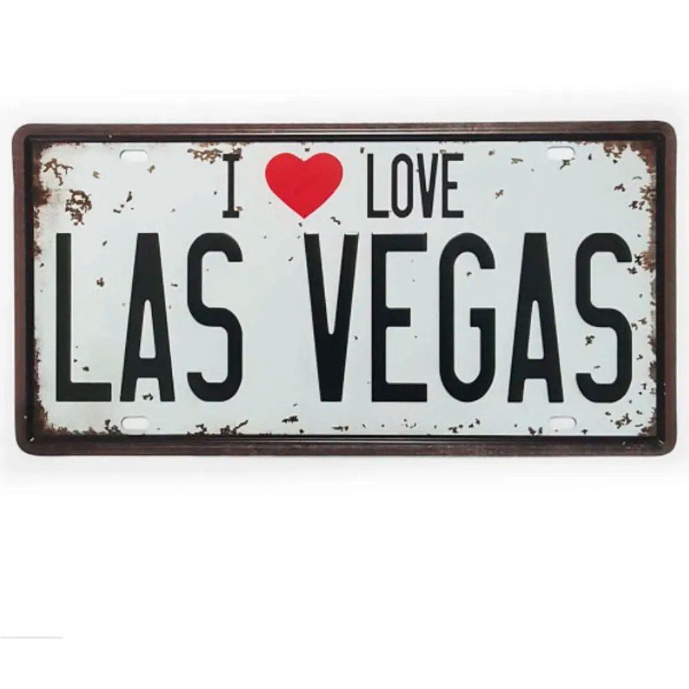 Placa de Metal Decorativa I Love Las Vegas