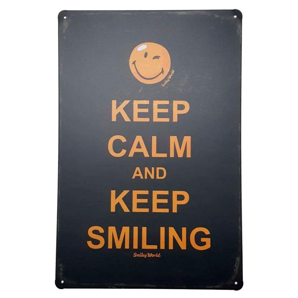 Placa de Metal Decorativa Keep Calm Keep Smiling