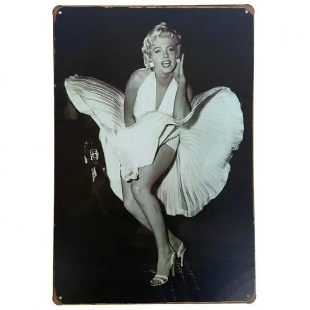 Placa de Metal Decorativa Marilyn Monroe PB
