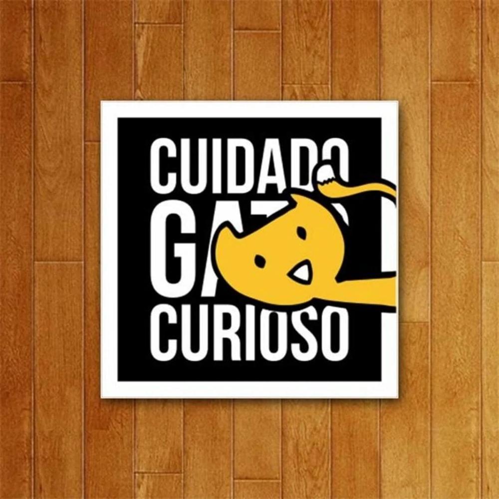 Placa Decorativa Gato Curioso