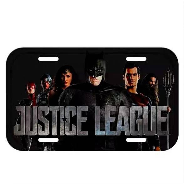 Placa Decorativa Liga da Justiça Characters Preto