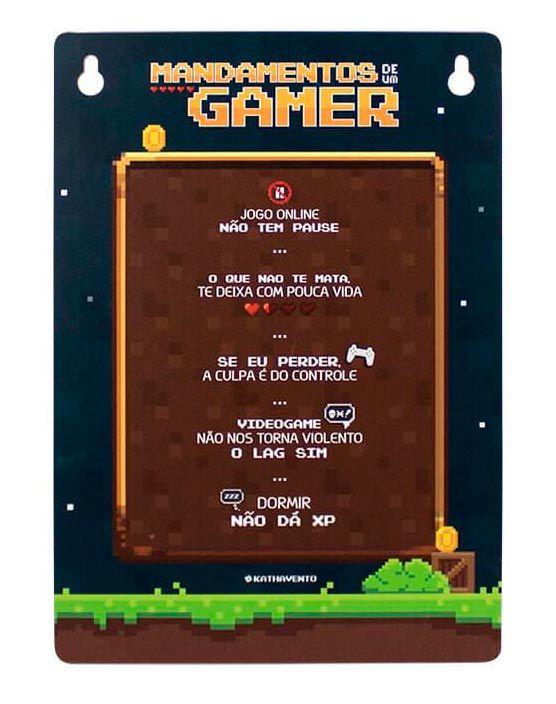 Placa Pixel Mandamentos de um Gamer