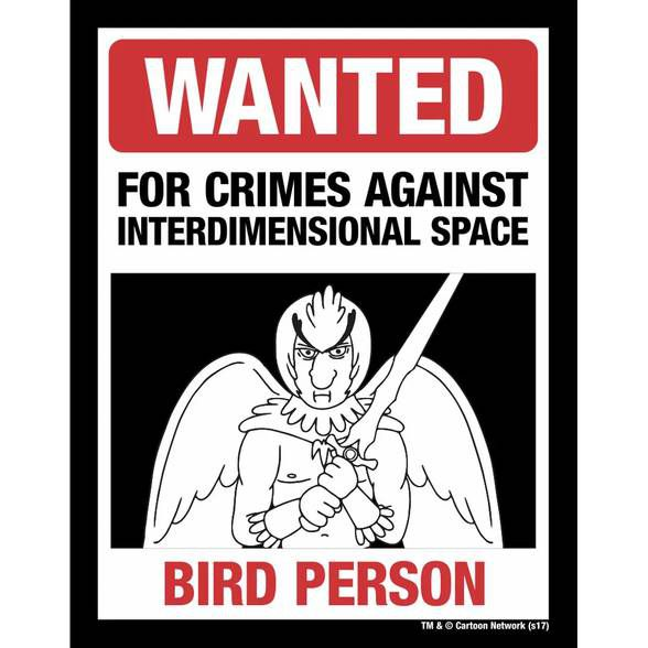 Placa Wanted Bird Person