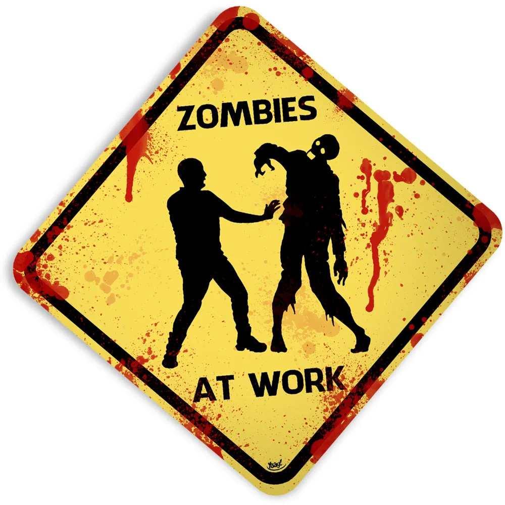 Placa Zombies At Work Grande