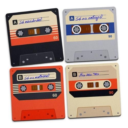 Porta Copos Fita Cassete Vintage - 4 Peças