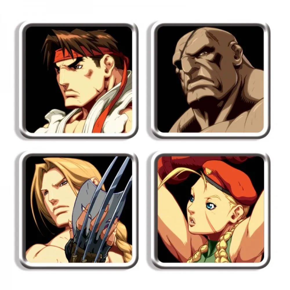 Porta Copos Street Fighter Personagens F II HD Remix
