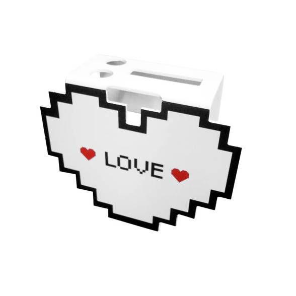 Porta Escova de Dentes Coração Pixel