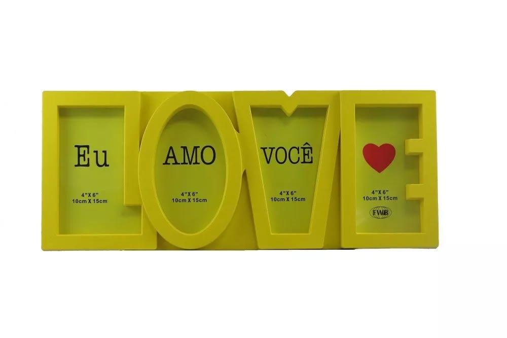 Porta Retrato 4 fotos Love - Amarelo