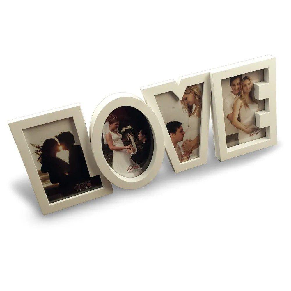 Porta Retrato 4 fotos Love - Branco