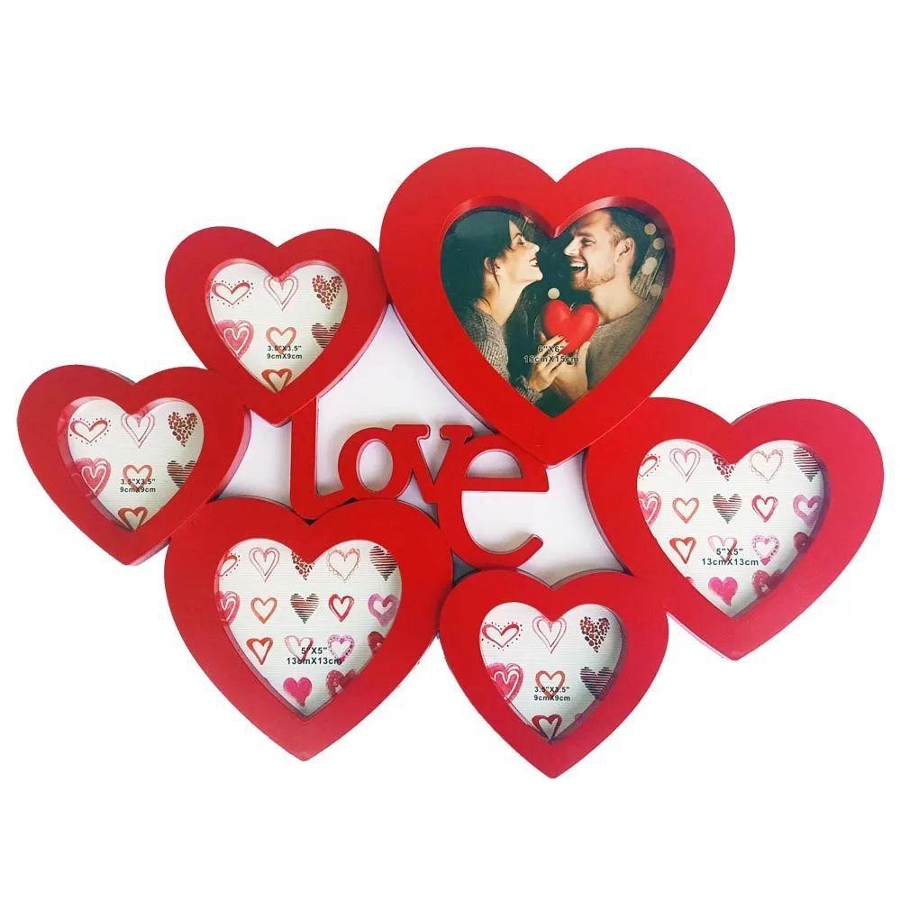 Porta Retrato de parede 6 fotos Love  - Vermelho