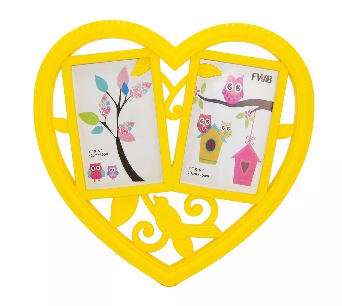 Porta Retrato Duplo de parede Coração - Amarelo