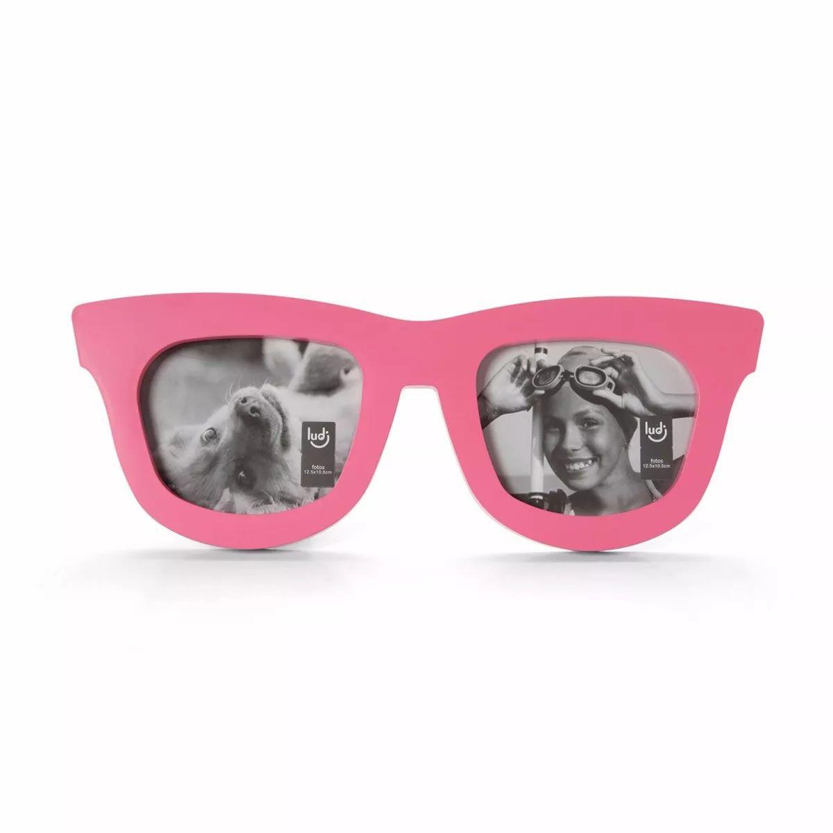 Porta Retrato Duplo Óculos Rosa- Claro