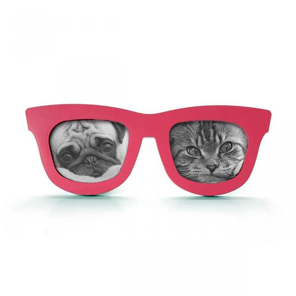 Porta Retrato Duplo Óculos - Vermelho