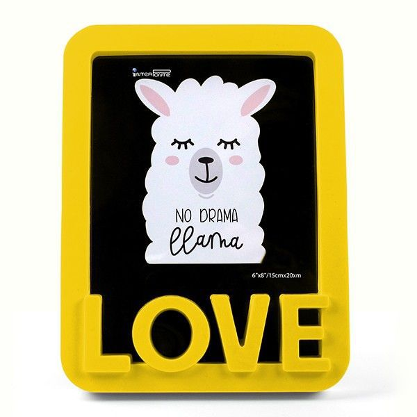 Porta Retrato Love Lhama Amarelo