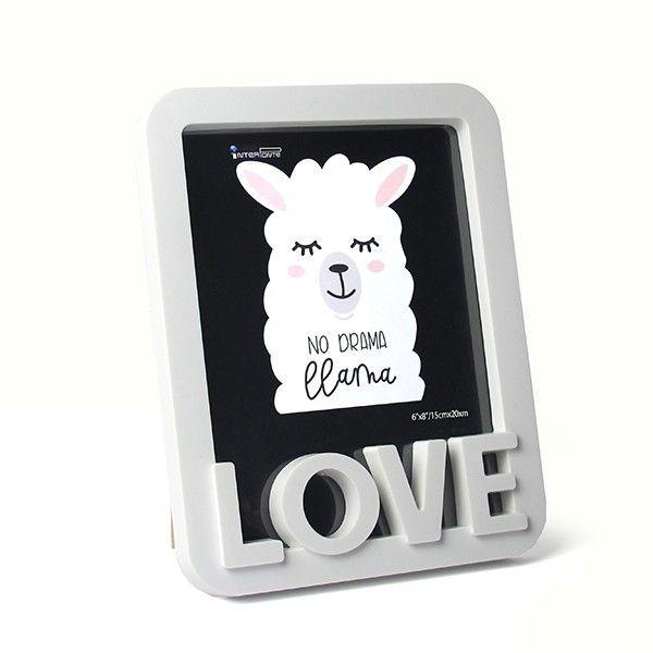 Porta Retrato Love Lhama Branco