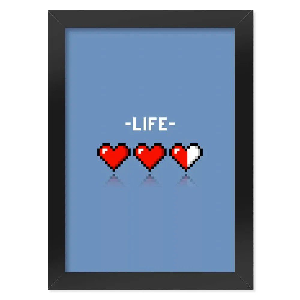 Pôster com Moldura 8-bit Life-azul