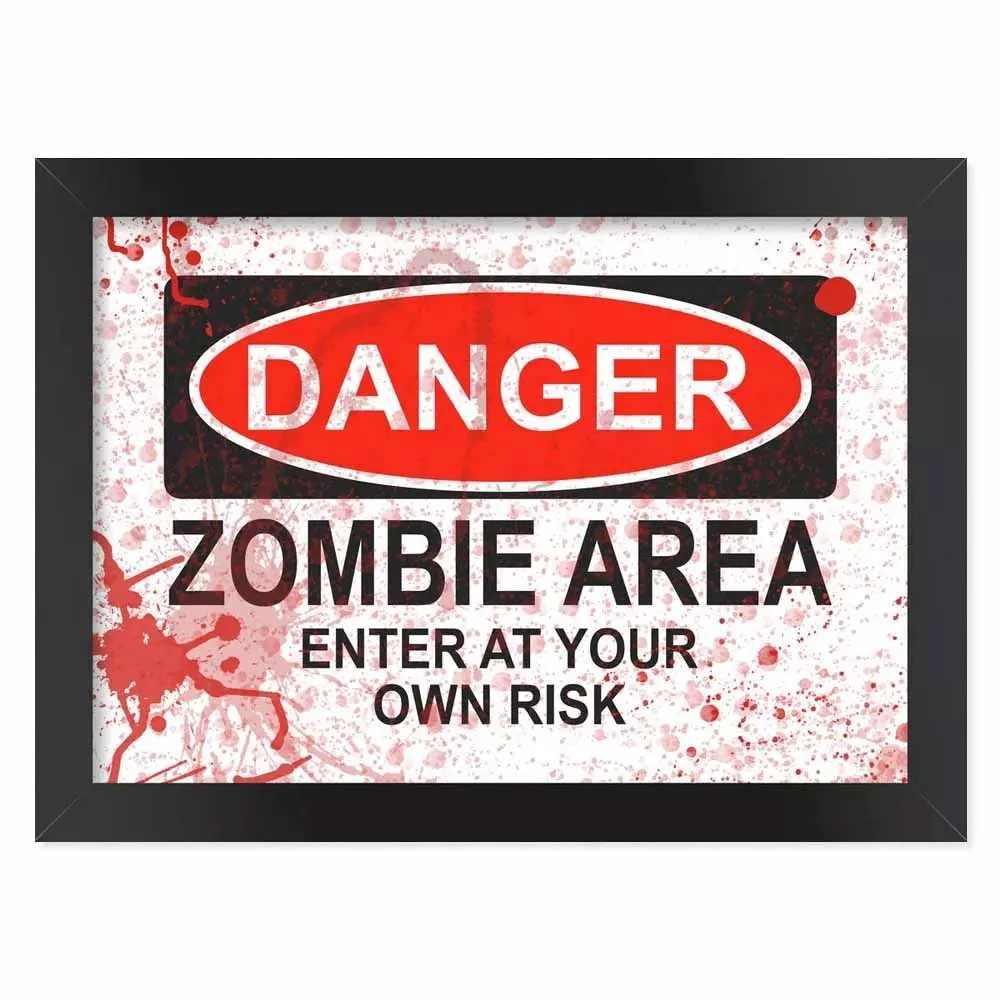 Pôster com Moldura Danger Zombie Area - Blood