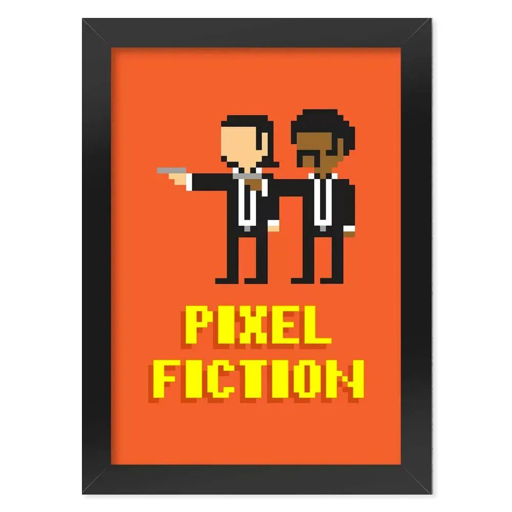 Pôster com Moldura Pixel Fiction