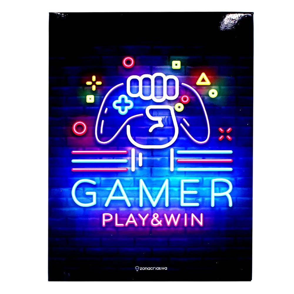 Quadro em Metal Gamer Play&Win