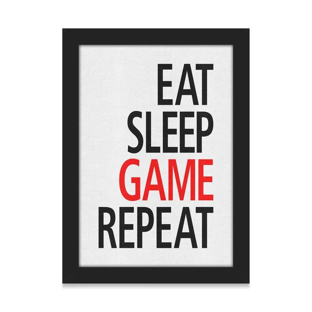Quadro Gamer Eat Sleep Game Repeat
