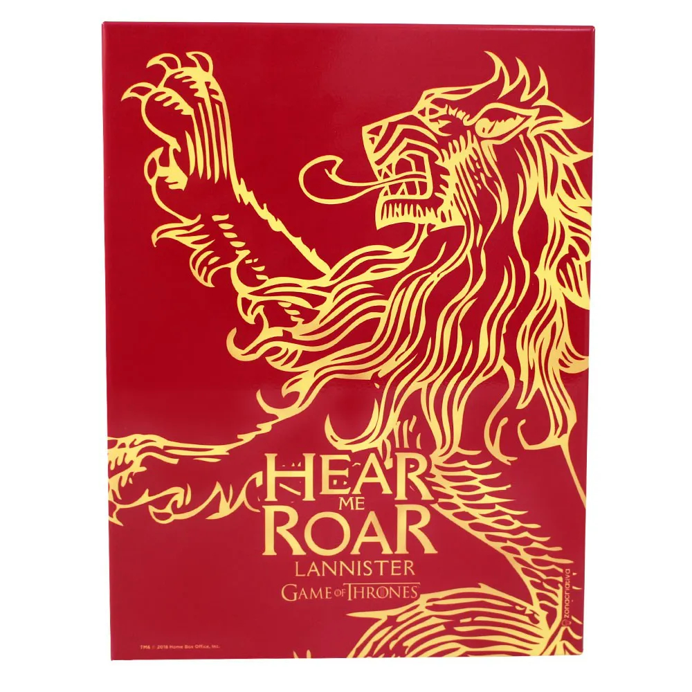 QUADRO METAL 26X20CM LANNISTER HEAR THE ROAN