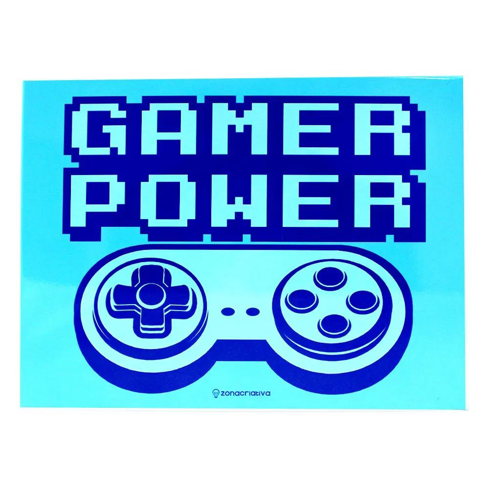 QUADRO METAL 26X20CM POWER GAME BLUE